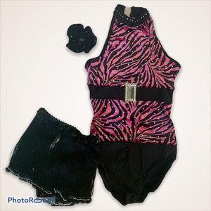 Knocks You Fuchsia Black Zebra Fringe Costume NWT